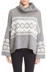 Women's Free People Fair Isle Split Neck Sweater Charcoal Ivory
