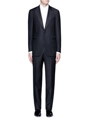 Isaia 'Gregory' Aquaspider Wool Tuxedo Suit Black