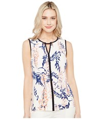 Ivanka Trump Printed Matte Jersey With Hardware Ivory Coral Women's Sleeveless Red