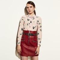 Coach High Waisted Moto Skirt Bright Red