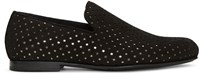 Jimmy Choo Black Suede Perforated Sloane Loafers