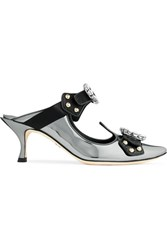 Dolce And Gabbana Cutout Embellished Mirrored Leather Mules Gunmetal