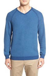 Tommy Bahama Men's 'Make Mine A Double' Reversible Pima Cotton V Neck Sweater Dockside Blue
