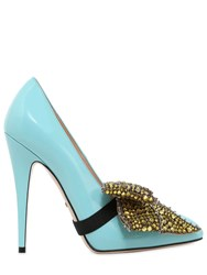Gucci 110Mm Elaisa Crystals Bow Leather Pumps