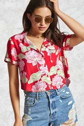 Forever 21 Floral Print Shirt Red Multi