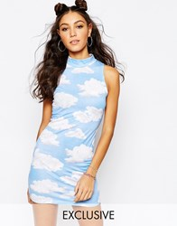Jaded London Off High Neck Bodycon Dress In Cloud Print Blue