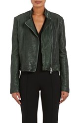 L'agence Women's Devon Leather Moto Jacket Dark Green