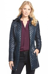 Petite Women's Laundry By Shelli Segal Ruched Waist Quilted Hooded Coat Navy
