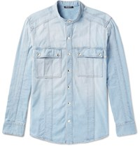 Balmain Grandad Collar Denim Shirt Blue