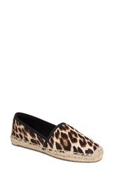 Tory Burch Women's Elisa Genuine Calf Hair Espadrille Flat Natural Leopard Black