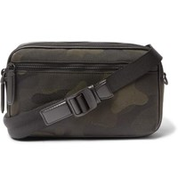 Mulberry Leather Trimmed Camouflage Print Canvas Messenger Bag Green