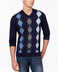 Club Room Big And Tall Argyle Sweater Only At Macy's Navy Blue