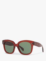 Celine Cl4002un 'S Rectangular Sunglasses Shiny Red Green
