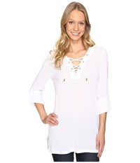 Michael Michael Kors Waffle Lace Up Tunic White Women's Blouse