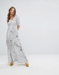 Lily And Lionel Tiered Maxi Dress In Celestial Print White