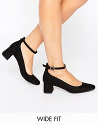 New Look Wide Fit Suedette Block Heel Black