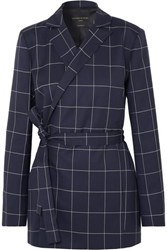 Mother Of Pearl Checked Organic Wool Blazer Navy