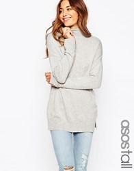 Asos Tall Tunic With High Neck In Cashmere Blend Grey