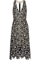 Alice Olivia Noreen Cutout Floral Lace Dress Black