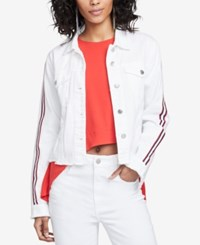 Rachel Roy Cotton Striped Sleeve Denim Jacket White Destroyed