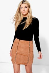 Boohoo Brea Double Zip Front Cord Mini Skirt Tan
