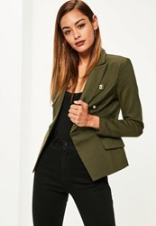 Missguided Khaki Military Style Blazer