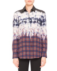 Altuzarra Degrade Tie Dye Plaid Blouse Navy
