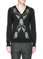Alexander Mcqueen Cross Floral Jacquard Wool Sweater Black