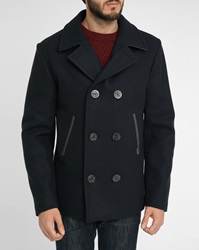 Armor Lux Navy With Contrasting Grey Collar Wool Pea Jacket