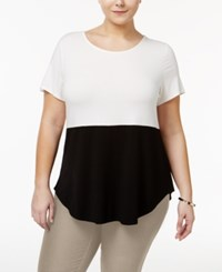 Alfani Plus Size Colorblocked Top Only At Macy's Black White Colorblock