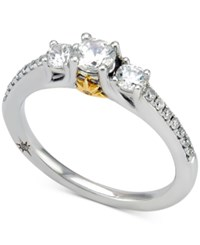 Marchesa Certified Diamond Engagement Ring 3 4 Ct. T.W. In 18K White Gold With Yellow Gold Accent