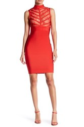 Wow Couture Sheer Lace Bandage Bodycon Dress Red