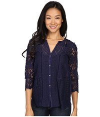 Lucky Brand Lace Mix Top Eclipse Women's Clothing Olive