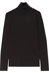 Burberry Button Detailed Ribbed Wool Turtleneck Sweater Black