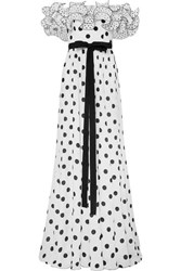 Andrew Gn Ruffled Off The Shoulder Polka Dot Silk Crepe De Chine Gown White