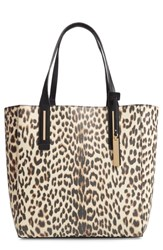 Vince Camuto Fran Reversible Leather Tote Brown Natural