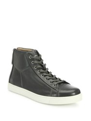 Gianvito Rossi Leather High Top Sneakers Dark Grey