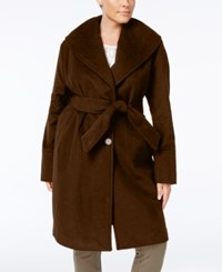 Jones New York Plus Size Asymmetrical Belted Coat Brown
