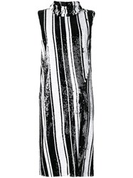 Halpern Striped Sequin Dress Black
