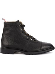 Thom Browne Wingtip Lace Up Boots Black