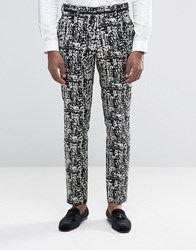 Asos Skinny Suit Trousers In Black And Gold Design Black