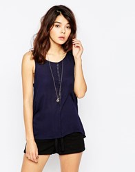Brave Soul Sleeveless Vest Top With Embriordered Detail Navy