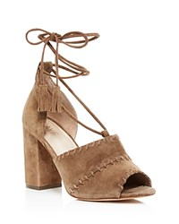 Raye Lainey Suede Lace Up High Heel Sandals Taupe