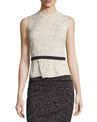 Narciso Rodriguez Sleeveless Jewel Neck Printed Jacquard Top Ivory