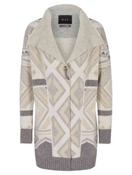 Oui Long Aztec Print Cardigan Light Grey Camel