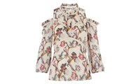 Whistles Bird Print Silk Top White Multi