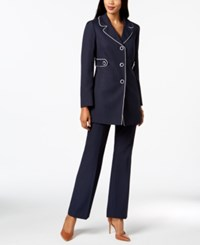 Le Suit Piping Trim Pantsuit Regular And Petite Navy Vanilla Ice