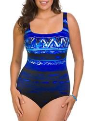 Longitude Printed One Piece Blue