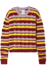 Ashish Metallic Striped Cable Knit Mohair Blend Sweater Red