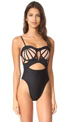 For Love And Lemons Balmy Cutout Swimsuit Black